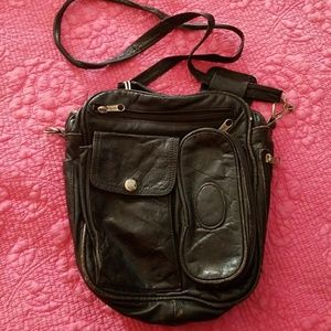 Vintage worn Leather cross body bag